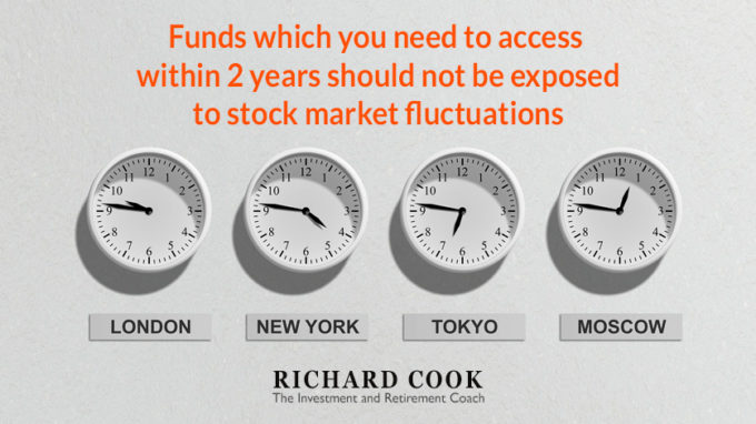 Funds which you need to access within 2 years should not be exposed to stock market fluctuations